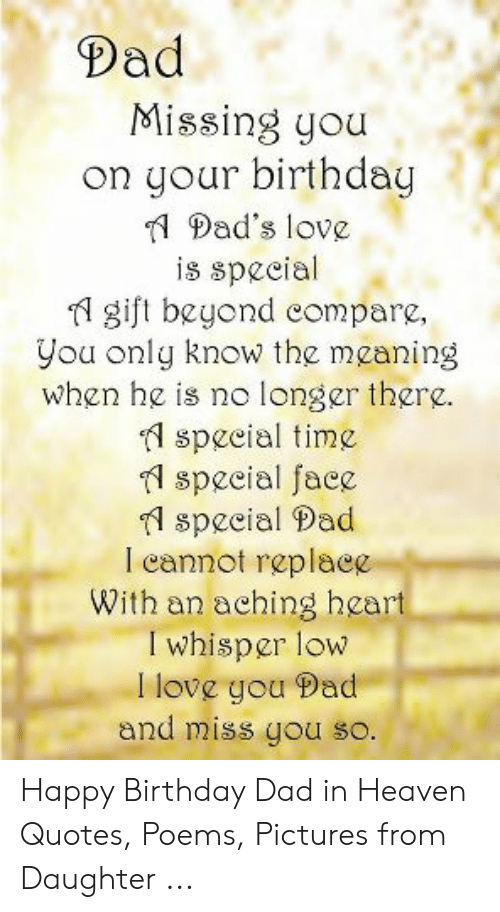 Dad Missing You on Your Birthday 1 Dad's Love Is Speeial Fl