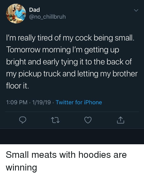 Dad, Funny, and Iphone: Dad  @no_chillbruh  I'm really tired of my cock being small  Tomorrow morning I'm getting up  bright and early tying it to the back of  my pickup truck and letting my brother  floor it.  1:09 PM 1/19/19 Twitter for iPhone Small meats with hoodies are winning
