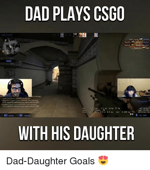 Anaconda, Dad, and Fire: DAD PLAYS CSGO  Tunnel  $650  on the way  Lizete Mid Doors. RADIO Smoke  Rug MD, e Upper Tunnel RADIO Fre inneho  .5100 Award for neutralizing an enemy n the AWP  Archere Upper Tunnrl RADIO Fire in the hDet  $100 Award for neutor izing an enemy wth the AWP  1.1 ns ping: S7 ns  tick 64.0  4- 0. S ns  0.009 ms  95  BO  WITH HIS DAUGHTER  cnd: 64  Official DS Dad-Daughter Goals 😍