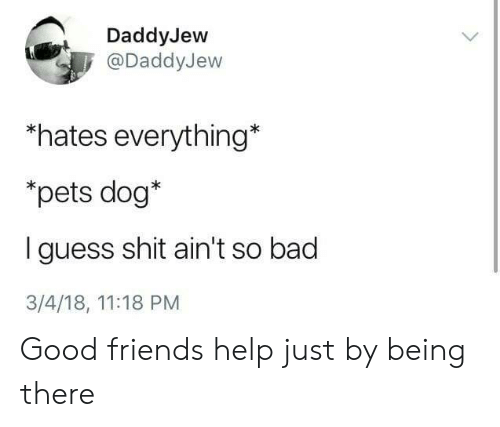Bad, Friends, and Shit: DaddyJew  @DaddyJew  hates everything*  *pets dog*  I guess shit ain't so bad  3/4/18, 11:18 PM Good friends help just by being there