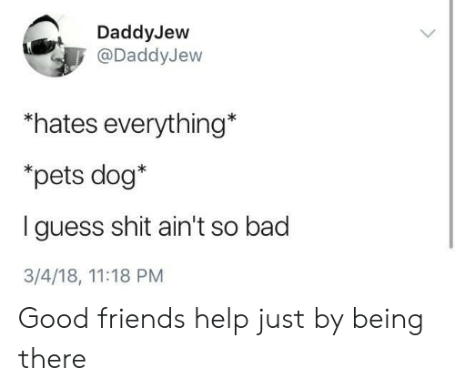 Bad, Friends, and Shit: DaddyJew  @DaddyJew  *hates everything*  *pets dog*  I guess shit ain't so bad  3/4/18, 11:18 PM Good friends help just by being there
