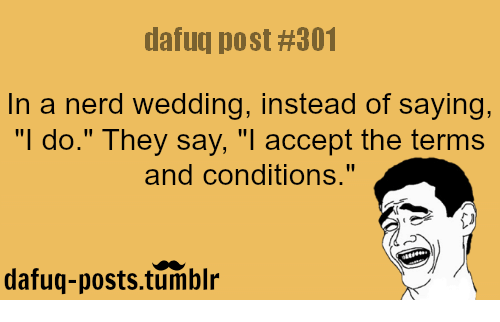 dafuq post 301 in a nerd wedding instead of saying i do they say i