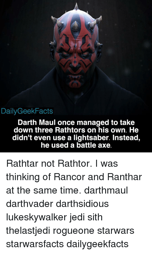 Daily Geek Facts Darth Maul Once Managed To Take Down Three Rathtors