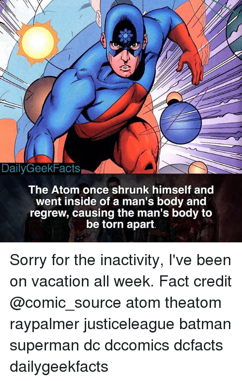Batman, Memes, and Sorry: Daily GeekFacts  The Atom once shrunk himself and  went inside of a man's body and  regrew, causing the man's body to  be torn apart. Sorry for the inactivity, I've been on vacation all week. Fact credit @comic_source atom theatom raypalmer justiceleague batman superman dc dccomics dcfacts dailygeekfacts