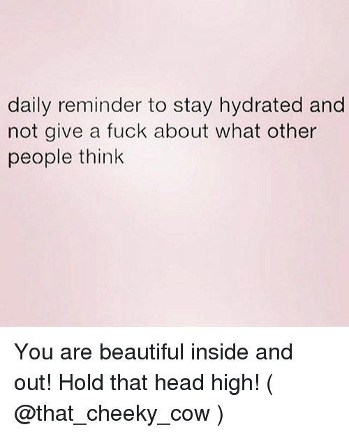 Beautiful, Head, and Fuck: daily reminder to stay hydrated and  not give a fuck about what other  people think You are beautiful inside and out! Hold that head high! ( @that_cheeky_cow )