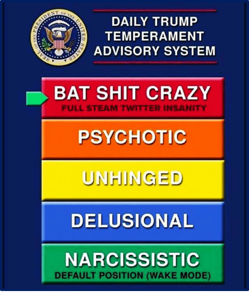 Crazy, Shit, and Steam: DAILY TRUMP  TEMPERAMENT  ADVISORY SYSTEM  BAT SHIT CRAZY  PSYCHOTIC  UNHINGED  DELUSIONAL  NARCISSISTIC  FULL STEAM TWITTER INSANITY  DEFAULT POSITION (WAKE MODE)