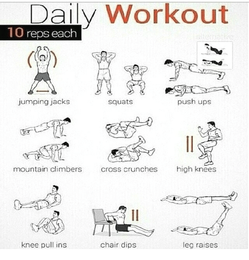 Daily Workout 10 Reps Each Jumping Jacks Push Ups Squats