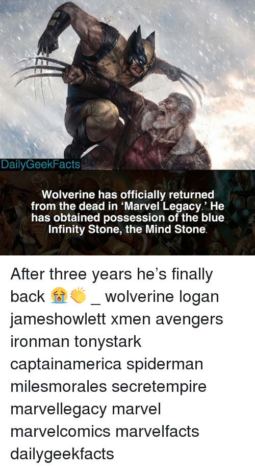 Memes, Wolverine, and Avengers: DailyGeekFacts  Wolverine has officially returned  from the dead in Marvel Legacy.' He  has obtained possession of the blue  Infinity Stone, the Mind Stone After three years he's finally back 😭👏 _ wolverine logan jameshowlett xmen avengers ironman tonystark captainamerica spiderman milesmorales secretempire marvellegacy marvel marvelcomics marvelfacts dailygeekfacts