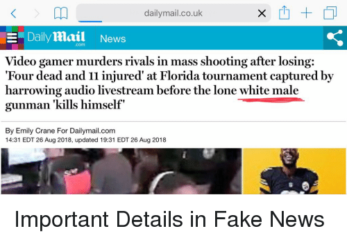 Fake, News, and Daily Mail: dailymail.co.uk  Daily Mail News  .com  Video gamer murders rivals in mass shooting after losing:  Four dead and I1 injured' at Florida tournament captured by  harrowing audio livestream before the lone white male  gunman 'kills himself  By Emily Crane For Dailymail.com  14:31 EDT 26 Aug 2018, updated 19:31 EDT 26 Aug 2018 Important Details in Fake News