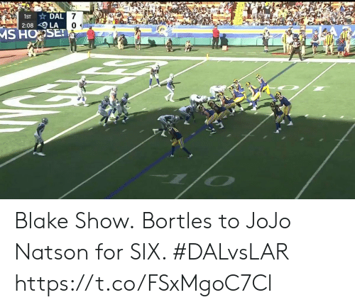 Memes, Jojo, and 🤖: DAL 7  2:08 LA  MS HOSET  1ST Blake Show.  Bortles to JoJo Natson for SIX. #DALvsLAR https://t.co/FSxMgoC7Cl