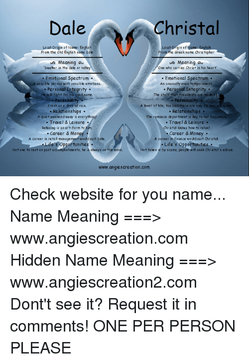 Dale Christal Local Igin of Looalorigin of Name English From