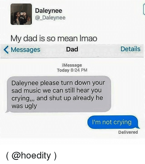 Girl Memes, Means, and Sadness: Daley nee  Daley nee  My dad is so mean lmao  Dad  Details  Messages  i Message  Today 8:24 PM  Daleynee please turn down your  sad music we can still hear you  crying,,, and shut up already he  was ugly  I'm not crying  Delivered ( @hoedity )