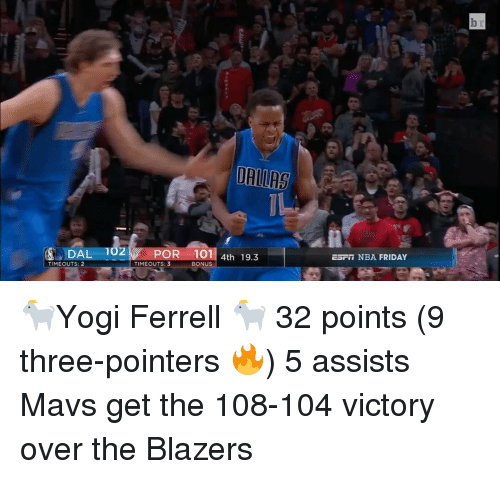 Sports, Blazers, and Yogi: DALLAS  DAL 102 POR 101 4th 19.3  TIMEOUTS: 2  TIME OUTS: 3  BONUS  ESFT NBA FRIDAY 🐐Yogi Ferrell 🐐 32 points (9 three-pointers 🔥) 5 assists Mavs get the 108-104 victory over the Blazers