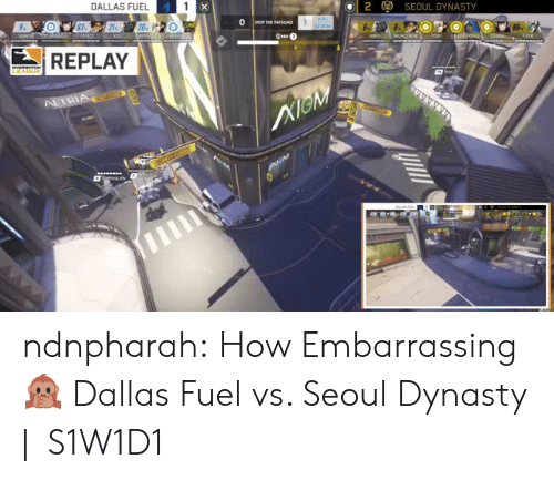 Tumblr, Blog, and Dallas: DALLAS FUEL  2  (g)  SEOUL DYNASTY  REPLAY ndnpharah:  How Embarrassing 🙊 Dallas Fuel vs. Seoul Dynasty |   S1W1D1