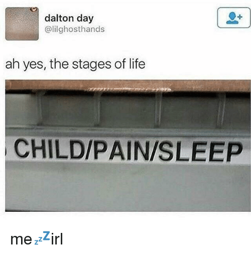 Life, Pain, and Sleep: dalton day  @lilghosthands  ah yes, the stages of life  CHILD/PAIN/SLEEP me💤irl
