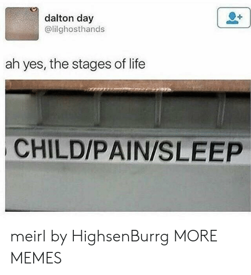 Dank, Life, and Memes: dalton day  @lilghosthands  ah yes, the stages of life  CHILD/PAIN/SLEEP meirl by HighsenBurrg MORE MEMES