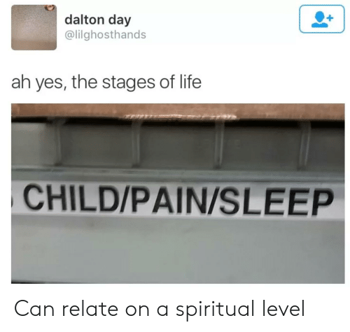 Life, Dank Memes, and Pain: dalton day  @lilghosthands  ah yes, the stages of life  CHILD/PAIN/SLEEP Can relate on a spiritual level