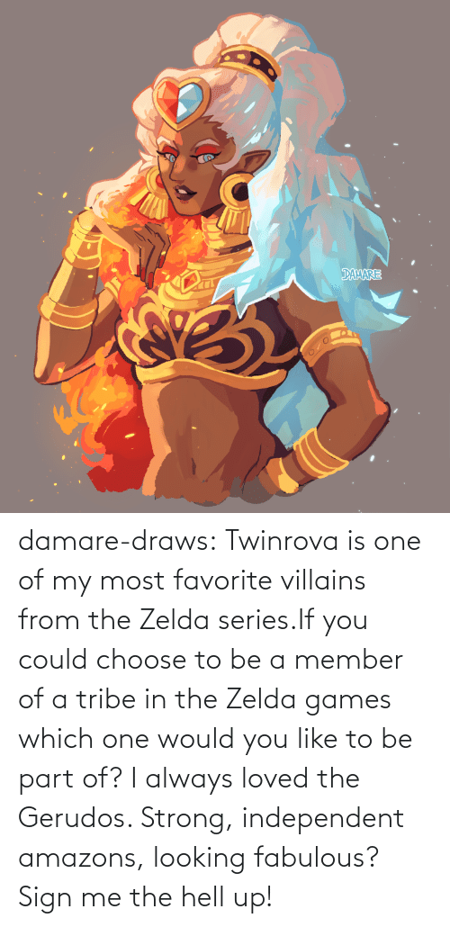 Tumblr, Blog, and Games: damare-draws:    Twinrova is one of my most favorite villains from the Zelda series.If you could choose to be a member of a tribe in the Zelda games which one would you like to be part of? I always loved the Gerudos. Strong, independent amazons, looking fabulous? Sign me the hell up!