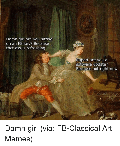 Memes, Damn Girl, and 🤖: Damn girl are you sitting  on an F5 key? Because  that ass is refreshing  Rupert are you a  software update?  Because not right now Damn girl (via: FB-Classical Art Memes)