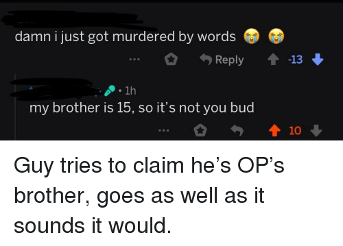 Quit Your Bullshit, Got, and Brother: damn i just got murdered by words  Reply 13  1h  my brother is 15, so it's not you buc  10