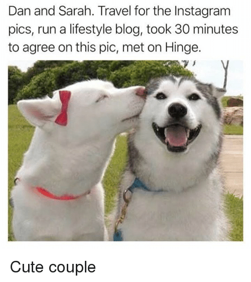 Cute, Instagram, and Memes: Dan and Sarah. Travel for the Instagram  pics, run a lifestyle blog, took 30 minutes  to agree on this pic, met on Hinge. Cute couple