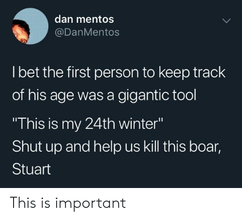 "Mentos, Shut Up, and Winter: dan mentos  @DanMentos  l bet the first person to keep track  of his age was a gigantic tool  This is my 24th winter""  Shut up and help us kill this boar,  Stuart This is important"