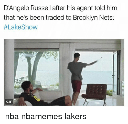 Basketball, Brooklyn Nets, and Gif: D'Angelo Russell after his agent told him  that he's been traded to Brooklyn Nets:  #Lake Show  GIF nba nbamemes lakers