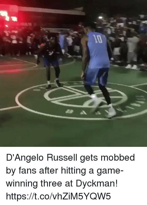 Memes, Game, and d'Angelo Russell: D'Angelo Russell gets mobbed by fans after hitting a game-winning three at Dyckman! https://t.co/vhZiM5YQW5