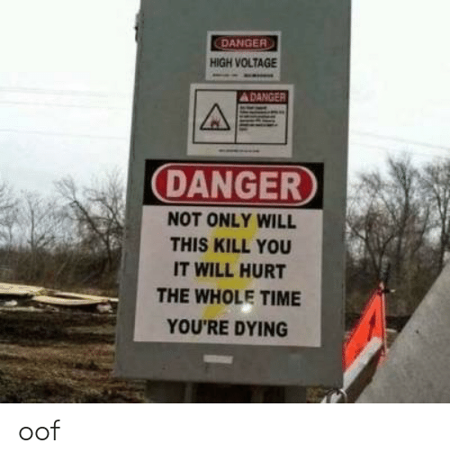 Time, Voltage, and Will: DANGER  HIGH VOLTAGE  DANGER  NOT ONLY WILL  THIS KILL YOU  IT WILL HURT  THE WHOLE TIME  YOU'RE DYING oof