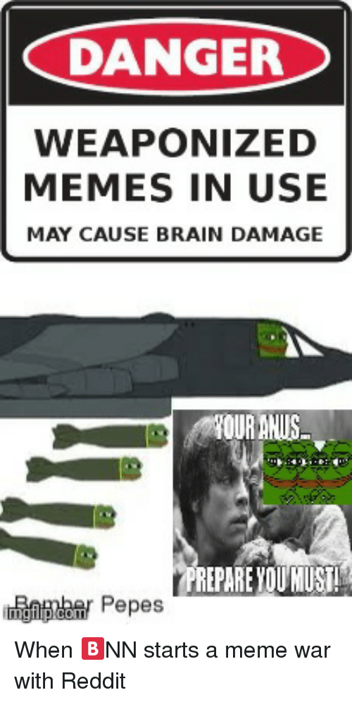 Meme, Memes, and Reddit: DANGER  WEAPONIZED  MEMES IN USE  MAY CAUSE BRAIN DAMAGE  OUR ANUS  REPARE YOU MUST  gnaar Pepes  co Pepes