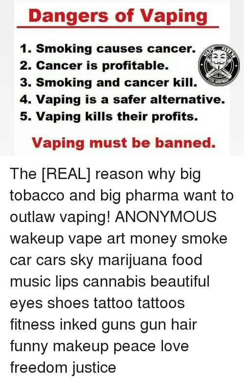 Beautiful, Cars, and Food: Dangers of Vaping 1. Smoking causes cancer.