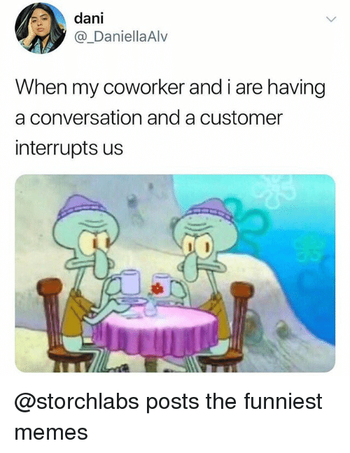 Memes, Trendy, and Customer: dani  @_DaniellaAlv  When my coworker and i are having  a conversation and a customer  interrupts us @storchlabs posts the funniest memes