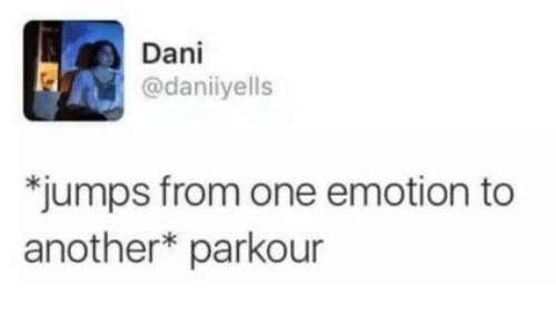 """Parkour, Another, and One: Dani  @daniiyells  """"jumps from one emotion to  another* parkour"""