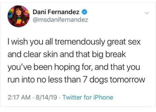 Dogs, Funny, and Iphone: Dani Fernandez  @msdanifernandez  I wish you all tremendously great sex  and clear skin and that big break  you've been hoping for, and that you  run into no less than 7 dogs tomorrow  2:17 AM 8/14/19 Twitter for iPhone