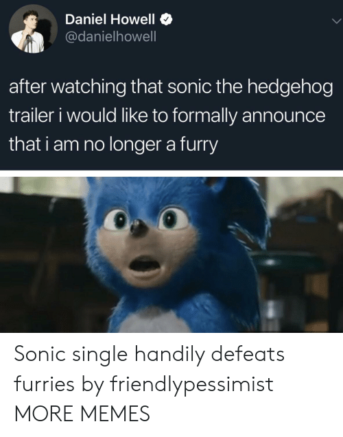 Dank, Memes, and Target: Daniel Howell $  @danielhowell  after watching that sonic the hedgehog  trailer i would like to formally announce  that i am no longer a furry Sonic single handily defeats furries by friendlypessimist MORE MEMES