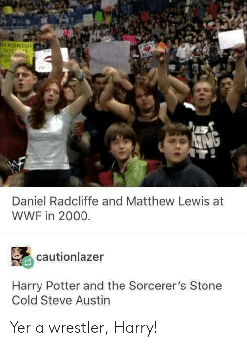 Daniel Radcliffe, Harry Potter, and Stone Cold Steve Austin: Daniel Radcliffe and Matthew Lewis at  WWF in 2000.  cautionlazer  Harry Potter and the Sorcerer's Stone  Cold Steve Austin Yer a wrestler, Harry!