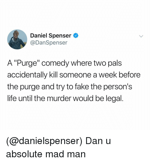 """Fake, Life, and The Purge: Daniel Spenser  @DanSpenser  A """"Purge"""" comedy where two pals  accidentally kill someone a week before  the purge and try to fake the person's  life until the murder would be legal (@danielspenser) Dan u absolute mad man"""
