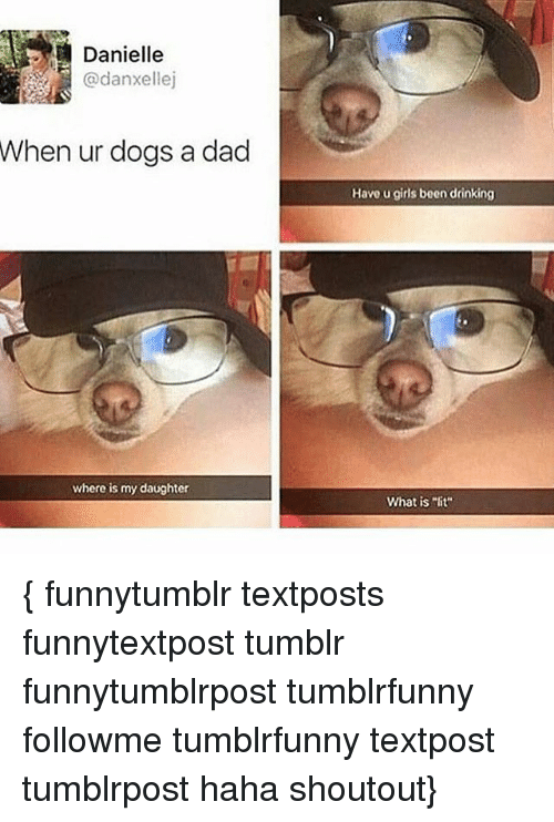 "Dad, Dogs, and Drinking: Danielle  @danxellej  When  ur dogs a dad  Have u girls been drinking  where is my daughter  What is ""lit { funnytumblr textposts funnytextpost tumblr funnytumblrpost tumblrfunny followme tumblrfunny textpost tumblrpost haha shoutout}"