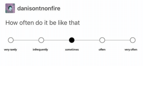 Be Like, How, and Do It: danisontnonfire  How often do it be like that  very rarely  infrequently  sometimes  often  very often