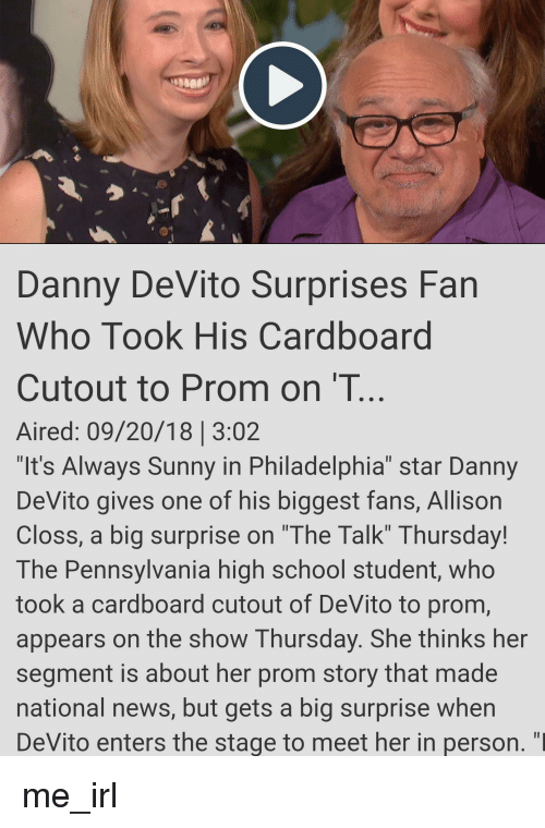Danny Devito Surprises Fan Who Took His Cardboard Cutout To Prom On