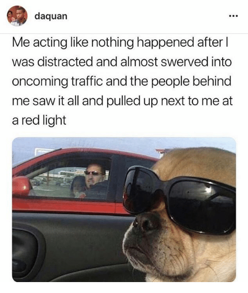 Dank, Daquan, and Saw: daquan  Me acting like nothing happened after l  was distracted and almost swerved into  oncoming traffic and the people behind  me saw it all and pulled up next to me at  a red light