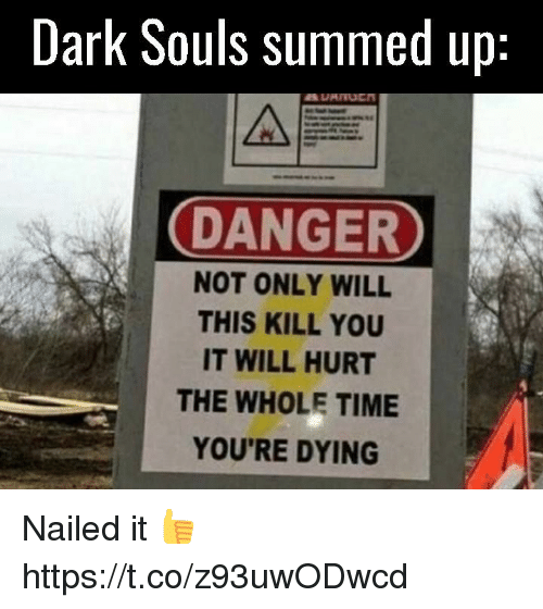 Video Games, Time, and Dark Souls: Dark Souls summed up  DANGER  NOT ONLY WILL  THIS KILL YOU  IT WILL HURT  THE WHOLE TIME  YOU'RE DYING Nailed it 👍 https://t.co/z93uwODwcd