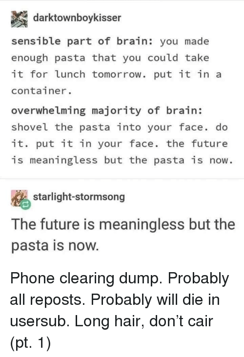 Future, Phone, and Brain: darktownboykisser  sensible part of brain: you made  enough pasta that you could take  it for lunch tomorrow. put it in a  container.  overwhelming majority of brain:  shovel the pasta into your face. do  it. put it in your face. the future  is meaningless but the pasta is now.  starlight-stormsong  The future is meaningless but the  pasta is now. Phone clearing dump. Probably all reposts. Probably will die in usersub. Long hair, don't cair (pt. 1)
