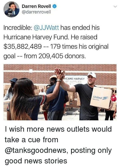 Memes, News, and Goal: Darren Rovell  @darrenrovell  Incredible: @JJWatt has ended his  Hurricane Harvey Fund. He raised  $35,882,489 --179 times his original  goal from 209,405 donors.  ICANE HARVEY  EF SUPPLIES  United  uorr Zines I wish more news outlets would take a cue from @tanksgoodnews, posting only good news stories
