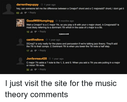 Funny, Music, and Piano: darrenthepuppy 1 year ago  hey, can someone tell me the difference between a Cmajor7 chord and a C majoradd7 chord, I dont gett  63 Reply  GoodWillHumpingg 9 months ago  Well a Cmajor7 is a C major 7th, so you play a B with your c major chord. A Cmajoradd7 is  most likely referring to a dominant 7th which in the case of c major is a Bb.  10 Reply  @jakebrotril  cantfindlove 1 year ago  DCmaj7 is only really for the piano and percussion if we're talking jazz theory. Theyll add  the 7th to their comps. C Dominant 7th is when you lower the 7th note a half step.  17  Reply  Jonfavreau420 1 year ago  C major 7th adds a 7 note to the 1, 3, and 5. When you add a 7th you are putting in a major  or minor 7th note.  32  Reply I just visit the site for the music theory comments