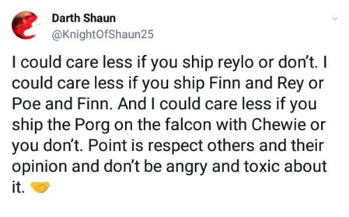 Finn, Respect, and Rey: Darth Shaun  @KnightOfShaun25  lcould care less if you ship reylo or dont. I  could care less if you ship Finn and Rey or  Poe and Finn. And I could care less if you  ship the Porg on the falcon with Chewie or  you don't. Point is respect others and their  opinion and don't be angry and toxic about  it.