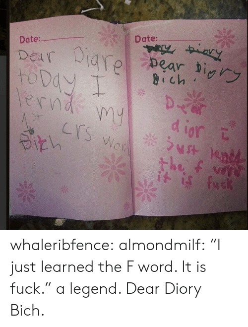 "Tumblr, Blog, and Date: Date:  Date:  Dear a  erndpd iort  Crs  is fuck whaleribfence:  almondmilf: ""I just learned the F word. It is fuck."" a legend.  Dear Diory Bich."