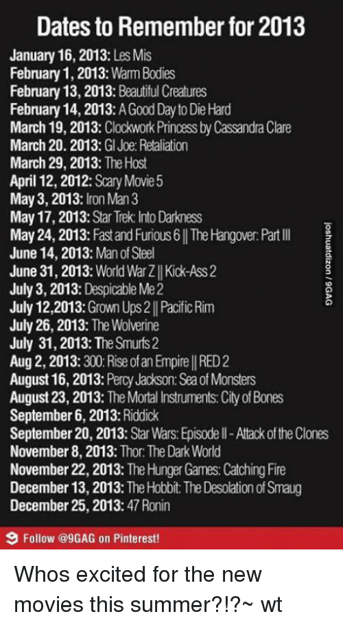 9gag, Bones, and Empire: Dates to Remember for2013  January 16, 2013  Les Mis  February 1, 2013: Warm Bodies  February 13, 2013  Beautiful Creatures  February 14, 2013  AGoodDayto Die Hard  March 19, 2013  Clockwork Princess by Cassandra Clare  March 20. 2013  GI Joe Retaliation  March 29, 2013  The Host  April 12, 2012  Scary Movie 5  May 3, 2013  ron Man 3  May 17, 2013  Star Trek: Into Darkness  May 24, 2013  Fast and Furious 6 ITheHangover:Part lll  June 14, 2013  Man of Steel  June 31, 2013: World War Zll Kick-Ass 2  July 3, 2013  Despicable Me2  July 12,2013  Grown Ups2 Pacific Rim  July 26, 2013  The Wolverine  July 31, 2013: The Smurfs 2  Aug2, 2013  300 Rise of an Empire I RED2  August 16, 2013  Percy Jackson: Seaof Monsters  August 23, 2013  The Mortal Instruments: City of Bones  September 6, 2013  Riddick  September 20, 2013  Star Wars Episodell-Atack ofthe Clones  November 8, 2013  Thor: The Dark World  November 22, 2013  The Hunger Games Catching Fire  December 13, 2013  The Hobbit The Desolation of Smaug  December 25, 2013  47 Ronin  9 Follow @9GAG on Pinterest! Whos excited for the new movies this summer?!?~ wt
