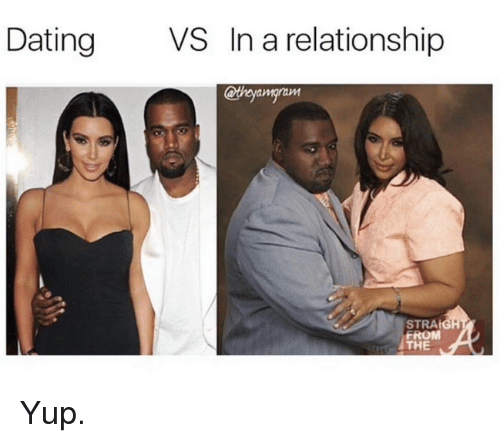 Dating, Kardashian, and In a Relationship: Dating  VS In a relationship  STRAIGH  THE Yup.