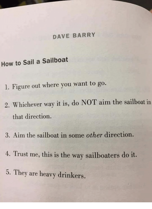 DAVE BARRY How to Sail a Sailboat 1 Figure Out Where You Want to Go 2  Whichever Way It Is Do NOT Aim the Sailboat in That Direction 3 Aim the  Sailboat